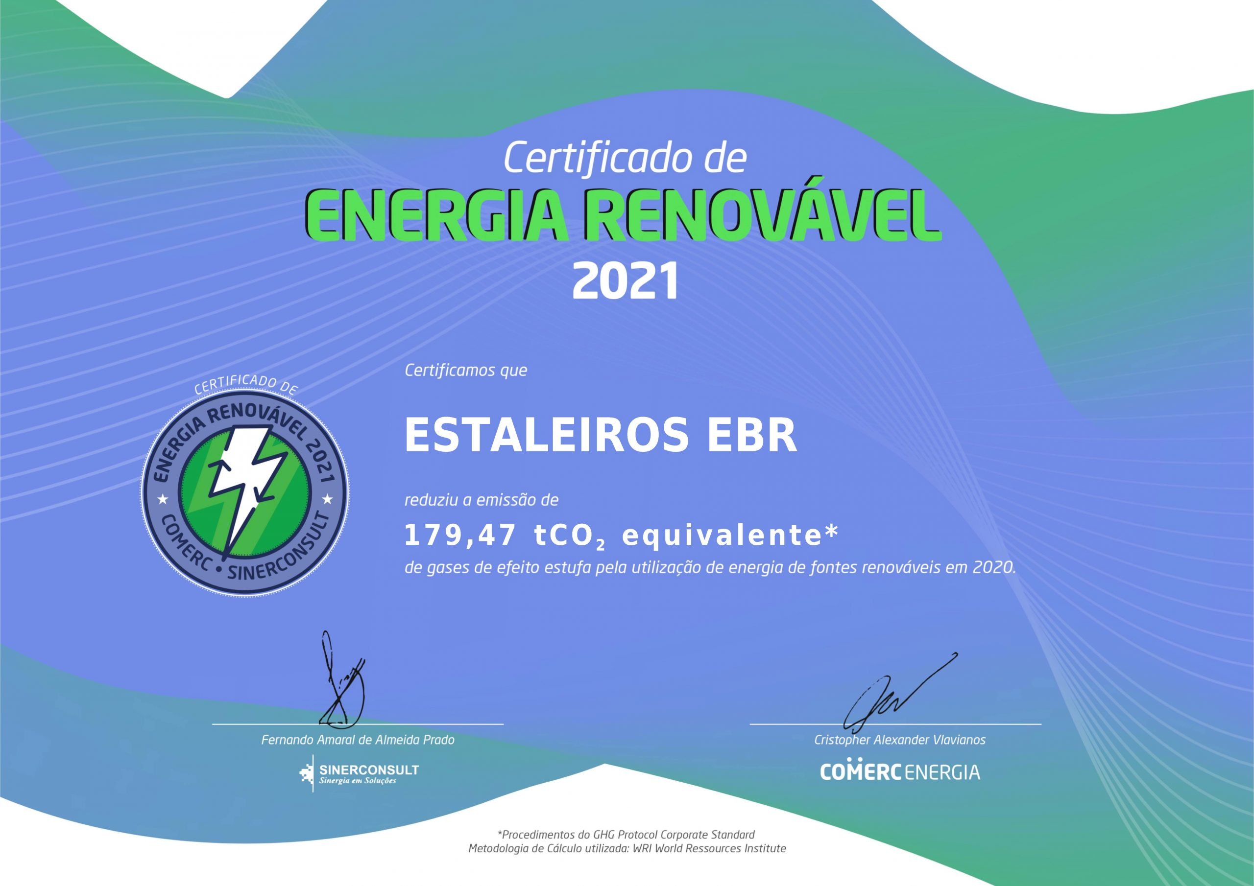 EBR receives certificate for reduction of greenhouse gases